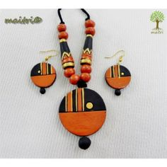 Orange Polymer Clay Necklace, Polymer Clay Pendant, Wooden Jewelry, Handmade Jewelry, Teracotta Jewellery, Terracotta Jewellery Designs, Biscuit, Beaded Necklace Patterns, Paper Earrings