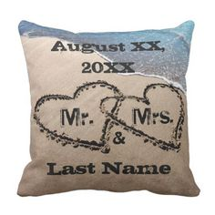 Two Hearts In The Sand Mr. & Mrs. Wedding ceremony Pillow. *** Figure out even more by checking out the image link