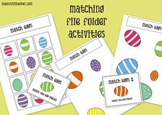 Matching File Folder Tasks for Children with Autism {Easter Themed!} by theautismhelper.com