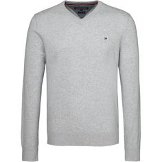 Tommy Hilfiger Pima Cotton Cashmere V-neck Sweater ($120) ❤ liked on Polyvore featuring men's fashion, men's clothing, men's sweaters, men knitwear, mens jumpers, mens v neck jumper, mens vneck sweater, mens v neck sweater and mens knitwear