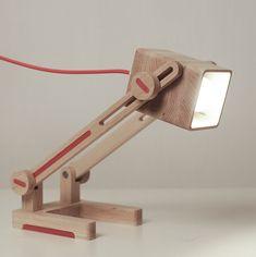 Wood lamp Desk red lamp April fools gift от GLArtStudioDesigns