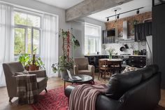 Home Interior Design — Living area is connected to the kitchen in this. Living Room Chairs, Home Living Room, Living Area, Scandinavian Apartment, Country Interior, Modern Spaces, Beautiful Interiors, Contemporary Interior, Interior Architecture
