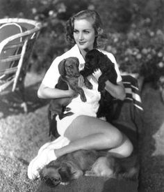 Carole Lombard with puppies!