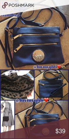 """The Perfect Navy Blue Cross-Body Handbag! A Perfect Navy Blue Cross-Body Handbag! A clean-lined, front silhouette with standout Golden detailing, on this Navy Blue Cross-body bag. 3 Exterior Zippered slip pockets, 2 on front with a Golden Emblem. 1 Zippered Slip Pocket on the rearside. Detachable adjustable length strap. Includes a Wristlet strap too! Soft Lined Sateen Animal print interior. 1 Zippered interior pocket, and 1 open pocket. 7""""L x 8.5""""W. Boutique purchase! Bags Crossbody Bags"""