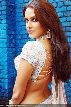 Neha Dhupia saree blouse design : high concept but impractical saree image
