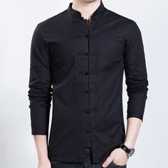 Seven Frog Buttons Stand-up Collar Shirt - Black - Chinese Shirts & Blouses - Men Collar Shirts, Shirt Blouses, Camisa China, Chinese Shirt, Mens Sewing Patterns, Mens Kurta Designs, Casual Outfits, Men Casual, Indian Fashion