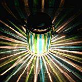 #3: Green Stripe Copper Finish Light Cap Solar Glass Jar Sogrand Solar Lights Small Glass Jars with Lids Hanging Lights Hanging Solar Lights