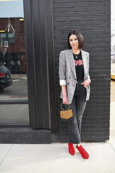 Red ankle boots casual outfit street style fashion - the heart's delight Winter Boots Outfits, Warm Outfits, New Outfits, Casual Outfits, Fashion Outfits, Red Flats Outfit, Blazer Outfits, Flat Boots Outfit, Boots Style