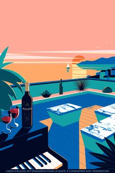 "Cannes all our good addresses during the Festival - The visual of the ""aperitif sunset"" at the Mouton Cadet Wine Bar - Art And Illustration, Illustration Design Graphique, Art Minimaliste, Minimal Art, Retro Art, Grafik Design, Aesthetic Art, Aesthetic Wallpapers, Pop Art"