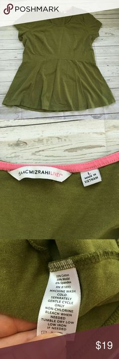 isaac mizrahi live! womens large short sleeve pepl gently used with no flaws qvc a265193 great for autumn for work and casual wear  armpit to armpit = 19.5 inches length = 26.5 inches Isaac Mizrahi Tops