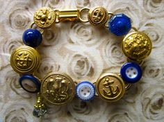 1800s antique button bracelet Naval Academy & Navy; Navy uniform buttons and china buttons by SewSandyShop, $36.00