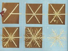 How to make a snow flake out of paint sticks and popcicle sticks!