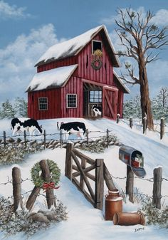 Country Winter Christmas Barn Cows Snow Farm LG Flag | eBay