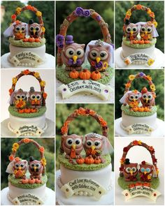 Fall wedding owl cake topper with floral arc and grass base, autumn love birds…