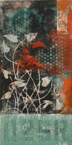"Out of the Depths, by Anne Moore, monotype, 20""X 10"""