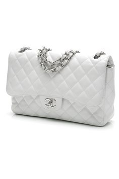 Chanel White Quilted Caviar Leather Jumbo Classic Double Flap Bag