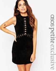 ASOS PETITE Suede Dress with Lace Up and Eyelet Detail