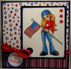 """Redonkadoodles.com - """"Welcome Home Soldier"""" Digital Stamp - Handmade Card Design By: Kim  Independence Day / 4th of July / Remembrance Day"""