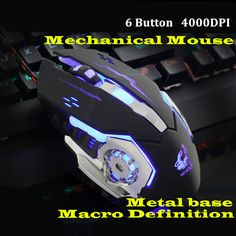 Gaming Mause Computer Peripherals 6 Button Wired Mouse 4 Color Breathing Lamp Ajustable 4000DPI USB Mice Mechanical Mouse Gamer