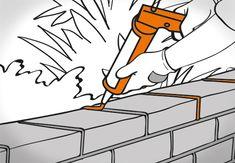 Heimwerker verfugt Mauersteine mit Silikon. Er benutzt dazu eine Auspresspistole.