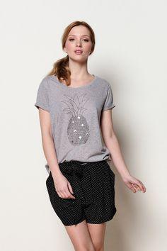 t-shirt m. courtes Hardi gris chiné 70% polyester - 30% lin -