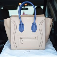 Celine Micro Luggage Blue Leather/Suede Leather