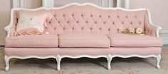 Love this, Pink Linen Tufted French Style Settee...