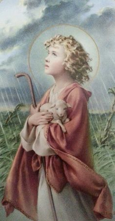 Jesus with Lamb, Holy Card