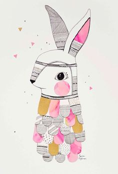 Happy chocolate eating and bunny loving day 💕🐰🍫 Love from me and my 'Mr.Feathered Rabbit' vintage Laura collaged illustration from a hundred years ago 💕🐰🍫 Art And Illustration, Illustration Mignonne, Illustration Design Graphique, Pattern Illustration, Illustrations Posters, Rabbit Illustration, Kids Prints, Art Prints, Arte Sketchbook