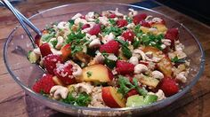 quinoa salad with raspberries, apricots and zucchini #yum low carb and vegan