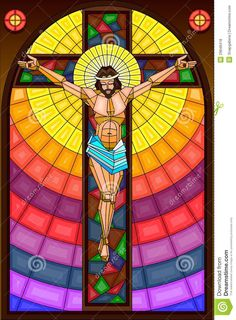 easy to edit vector illustration of stained glass painting of Jesus Christ Crucifixion - stock vector Jesus Christ Images, Jesus Art, Stained Glass Paint, Stained Glass Patterns, Catholic Art, Religious Art, Jesus Painting, Biblical Inspiration, Christian Art