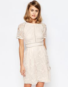 Image 1 ofLost Ink Lace Panel Skater Dress with Raglan Sleeve