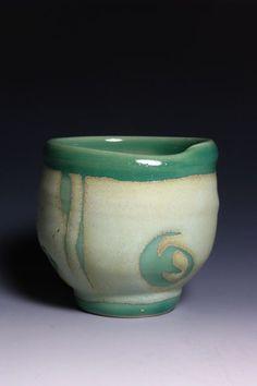 "Marian Baker  Tea Bowl  Stoneware with wax resist and glaze decoration  4.5 x 4"""