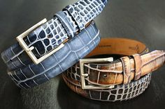 Italian Calf Skin Croc Finish Belt. Lejon makes timeless pieces that last a lifetime. Hand-picked from Italy. Lejon has crafted together a well-rounded and visually stunning collection that offers up the chance for anyone to add that perfect touch of sophistication in each style.