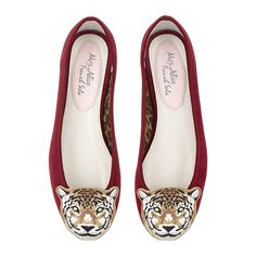 SUEDE Leopard Head Henrietta in Burgundy. Suits a narrow to medium width fitting and has an elegant low vamp, which reveals a little toe cleavage, and has a quarter inch heel. It is generous in length and is a well-balanced elegant ballet flat wardrobe essential, available up to size 44.