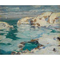 Jonas Lie (Norway 1880-1940 USA) On the Coast (1920) oil on canvas 55.9 x 66 cm
