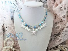 Nantucket Wedding, Swarovski Necklace, Crystal, Pearls, 8MM, Bridal, Beach, Ocean, Starfish, Blue Sparkle, DKSJewelrydesigns, FREE SHIPPING