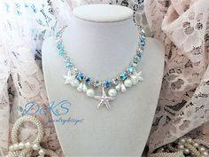 Nantucket Wedding, Swarovski Necklace, Crystal, Pearls, 8MM, Bridal, Beach, Ocean, Starfish, Blue Sparkle, DKSJewelrydesigns, FREE SHIPPING