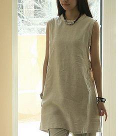 Side Pockets Sleeveless Linen Dress-zeniche.com SKU aa0256