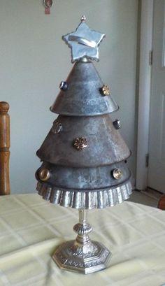 "Original Primitive Graduated Set Tin Metal Funnels Christmas Tree H 20 1/2""  #NaivePrimitive"