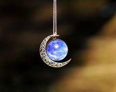 Amazing Half Moon Necklace. Silver Moon and Very Lovely Blue Core