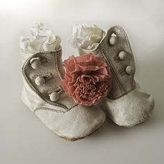 "Sweet buttoned vintage baby shoes - I am PROUD to say that I have a ""collection"" of baby vintage shoes!!"