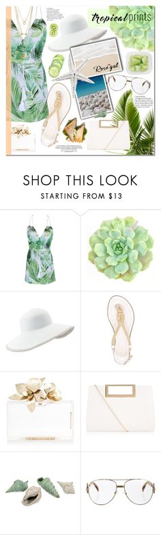 """""""rosegal: floral romper"""" by angellynnmm ❤ liked on Polyvore featuring WALL, Eric Javits, MICHAEL Michael Kors, New Look and Fendi"""