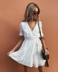 "a2a5dbbeff PRINCESSPOLLY.COM ☆ on Instagram  ""✧ SALLY MOON MINI DRESS ✧ The perf  staple white mini 🌸 Pair with our Peta   Jain Gracie Shoulder Bag   Unholy  Rain ..."