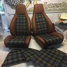 OEM comfort seats converted to sport seats in leather w plaid centers and matching rear seats centers Jeep Seats, Sport Seats, Car Seats, Car Seat Upholstery, Car Interior Upholstery, Jetta A4, Vw T3 Camper, Volkswagen, Vw Pickup