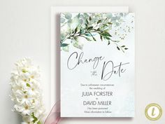 Change The Date - Change of Plans - Wedding Cancellation Announcement - Postponed - Garden Greens Download, YOU PRINT Printable Wedding Programs, Diy Shops, Thank You Tags, Diy Party, Party Printables, Party Invitations, Announcement, Wedding Planning, Dating