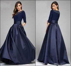 Cool Evening Dresses plus size Vintage Navy Designer Mother Of The Bride Groom Dresses 2016 A Line Half Sleeves...
