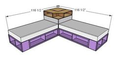I want to make this!  DIY Furniture Plan from Ana-White.com  A corner base unit to take advantage of tons of space between two twin beds! Place a tv on top or just use for books ans storage. Featuring a face suitable for a cork board or chalkboard. #crafts_storage_beads