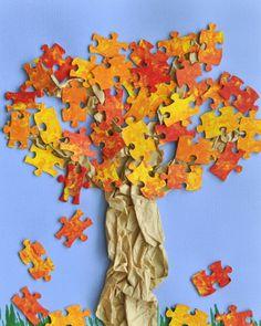 Originelle Herbstcollage mit bemalten Puzzleteilen