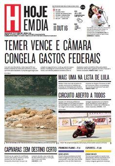 Capa do dia 11/10/2016 #HojeEmDia #Jornal #Notícias #News #Newspaper